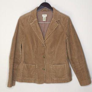 L.L Bean Vintage Corduroy Jacket Size 10 Brown Tan